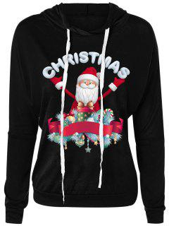Christmas Santa Claus Drawsring Neck Hoodie - Black M