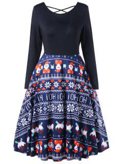 Christmas Criss Cross Swing Dress - Blue L