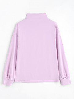 Mock Neck Faux Pearls Sweatshirt - Light Purple M
