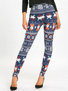 Christmas Allover Print High Waist Leggings - Deep Blue M