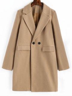 Longline Flap Pockets Wool Blend Coat - Camel S