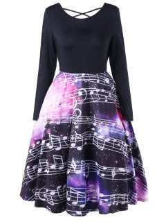 Criss Cross Music Notes Swing Dress - L