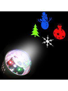 Christmas Tree Snowman Baubles Pattern Party Decor Projector Light Bulb - White Eu