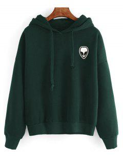 Drawstring Skull Patches Hoodie - Deep Green S