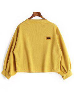 Badge Patch Lantern Sleeve Plus Size Sweatshirt - Ginger 3xl