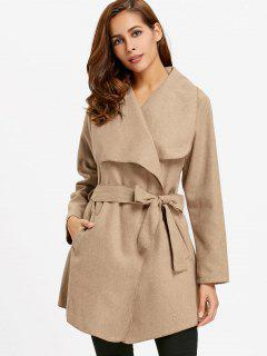 Waterfall Coat With Tie Belt - Khaki M