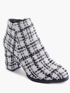 Block Heel Side Zipper Ankle Boots - White 38