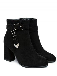 Studded Buckle Strap Point Toe Ankle Boots - Black 38