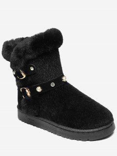 Rhinestone Faux Pearl Buckle Strap Snow Boots - Black 38