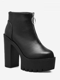 Platform High Heel Ankle Boots - Black 37