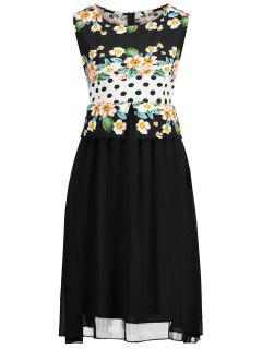 Plus Size Polka Dot Floral Print Dress - Black 4xl