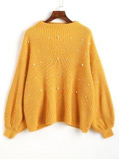 Suéter De Perlas De Imitación De Gran Tamaño Mangas Linterna - Mostaza