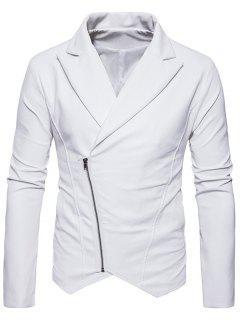 Zip Up Asymmetric PU Leather Biker Jacket - White M
