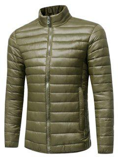 Stand Collar Zip Up Lightweight Down Jacket - Army Green L