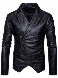 Zip Up Asymmetric PU Leather Biker Jacket - Black S