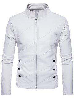 Oblique Panel Zip Up Faux Leather Jacket - White Xl