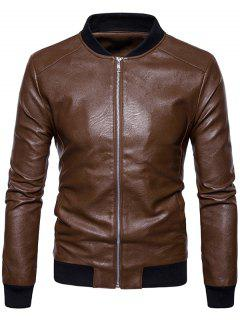 Ribbed Panel Zip Up Faux Leather Bomber Jacket - Brown Xl
