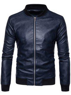 Ribbed Panel Zip Up Faux Leather Bomber Jacket - Cadetblue M