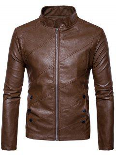 Oblique Panel Zip Up Faux Leather Jacket - Brown S