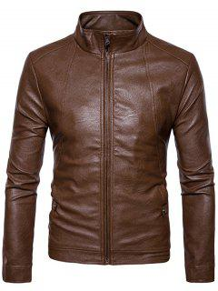Slim Fit Faux Leather Zip Up Jacket - Brown M
