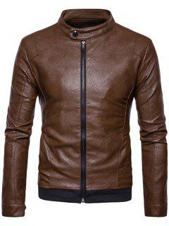 Stand Collar Ribbed Zip Up Faux Leather Jacket - Brown Xl