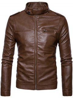 Stand Collar Epaulet Zip Up Faux Leather Jacket - Brown Xl