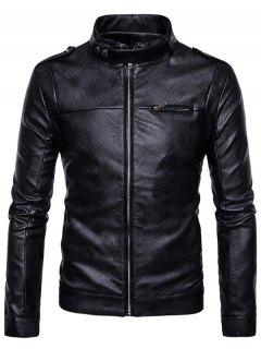 Stand Collar Epaulet Zip Up Faux Leather Jacket - Black M