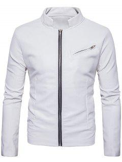 Stand Collar Zipper Design Faux Leather Jacket - White Xl