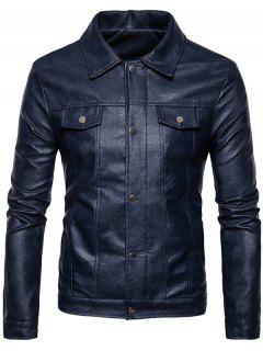 Turndown Collar Boutons Zip Up Veste En Cuir PU - Cadetblue M