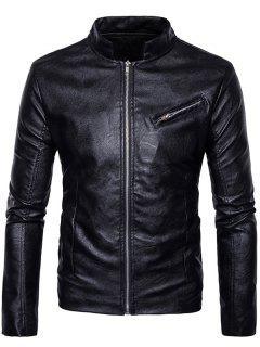 Collar Con Cremallera Y Diseño De Cuero Sintético  - Negro S