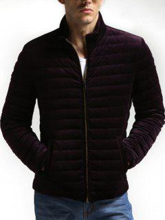 Zip Up Padded Velveteen Jacket - Wine Red Xl