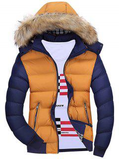Detachable Faux Fur Hood Padded Jacket - Orange L