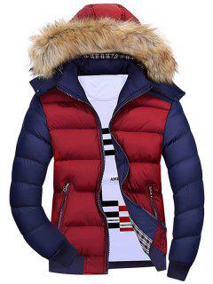 Detachable Faux Fur Hood Padded Jacket - Wine Red Xl