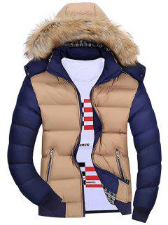 Detachable Hood Color Block Padded Jacket - Khaki L