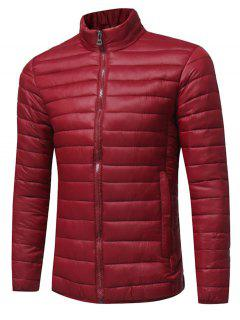 Stand Collar Zip Up Lightweight Down Jacket - Claret 2xl