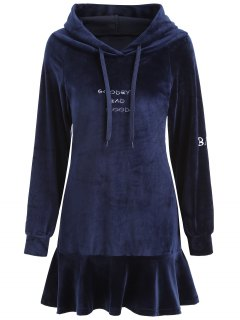 Letter Patched Velvet Hooded Dress - Cerulean S