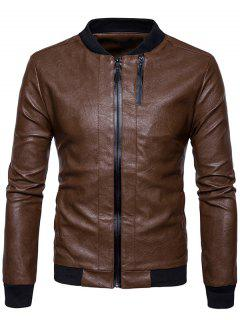 Rib Panel Double Zip Up PU Leather Jacket - Brown M