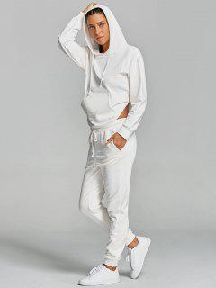 Cut Out Hoodie With Drawstring Pants Gym Suit - White S