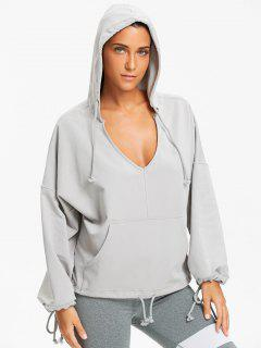 Kangaroo Pocket Low Cut Hoodie - Gray S