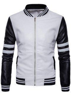 Stripe Zip Up Faux Leather Baseball Jacket - White Xl