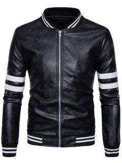 Stripe Zip Up Faux Leather Baseball Jacket - Black S