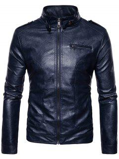 Stand Collar Epaulet Faux Leather Zip Up Jacket - Cadetblue S