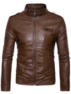Stand Collar Epaulet Faux Leather Zip Up Jacket - Brown Xl