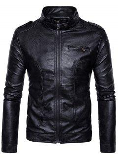 Stand Collar Epaulet Faux Leather Zip Up Jacket - Black L