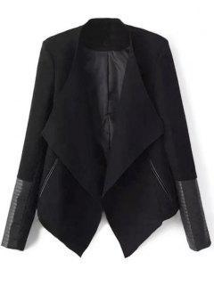Faux Leather Panel Asymmetric Draped Jacket - Black L