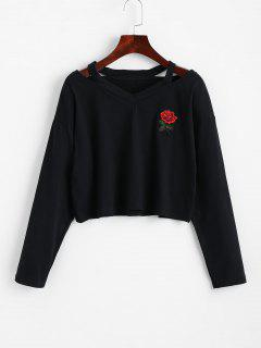 Cold Shoulder Rose Embroidered Patches Sweatshirt - Black S