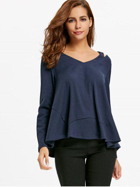 best Cut Out V Neck Sweater - PURPLISH BLUE M Mobile