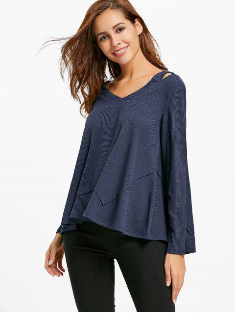 Ausgeschnittener Pullover mit V-Ausschnitt - Schwarzblau XL Mobile