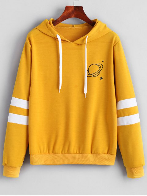 latest Contrast Stripes Panel Planet Hoodie - MUSTARD M Mobile