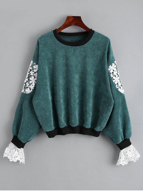 Sweatshirt mit Spitze und Rundhalsausschnitt - Grün Eine Größe Mobile